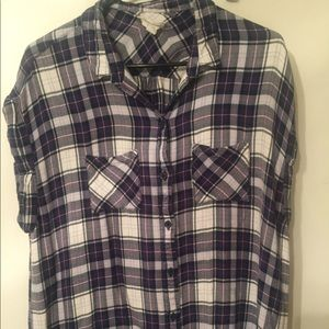 Short Sleeve Flannel Button Up Shirt, Size XL